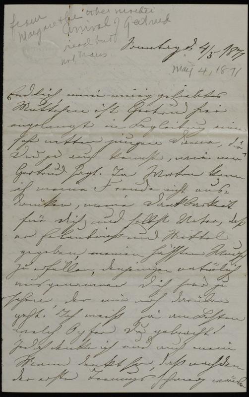 Margarethe Raster to Anna Oppenheim, May 4, 1871