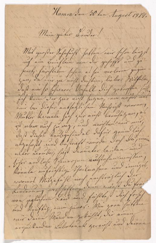 Emilie Hassel to Friedrich Wilhelm Hess, August 30, 1874
