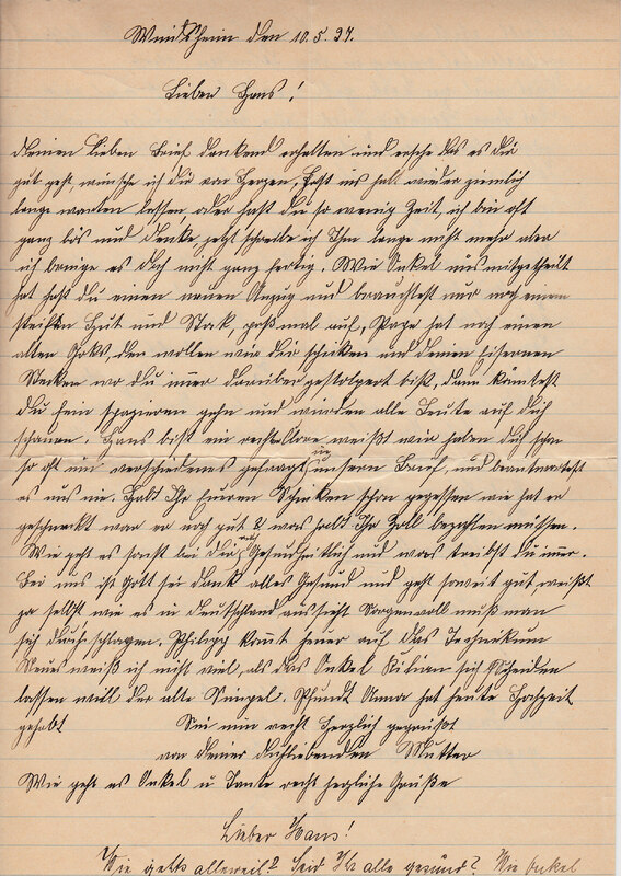 Weinhardt family letter, May 10, 1927
