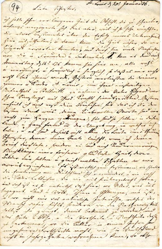Theodor Engelmann to Margarethe Hilgard, January 20, 1836, p. 1