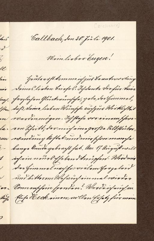 Heinrich Haas to Eugen Klee, July 30, 1901