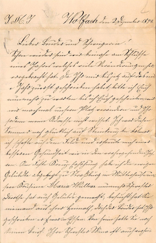 Wuellner family letter, December 2, 1894