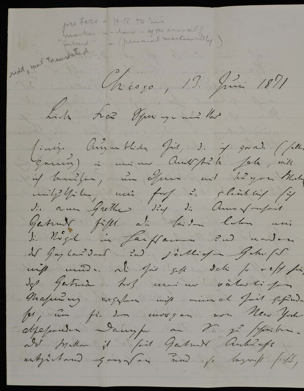 Hermann Raster to Anna Oppenheim, June 13, 1871
