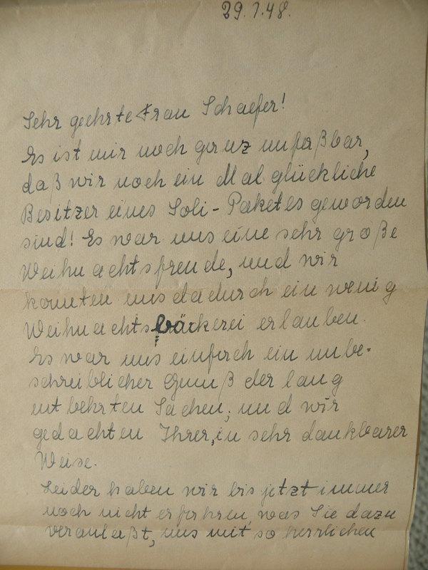 Einina Mittelbach to Anna Schaefer, July 29, 1948