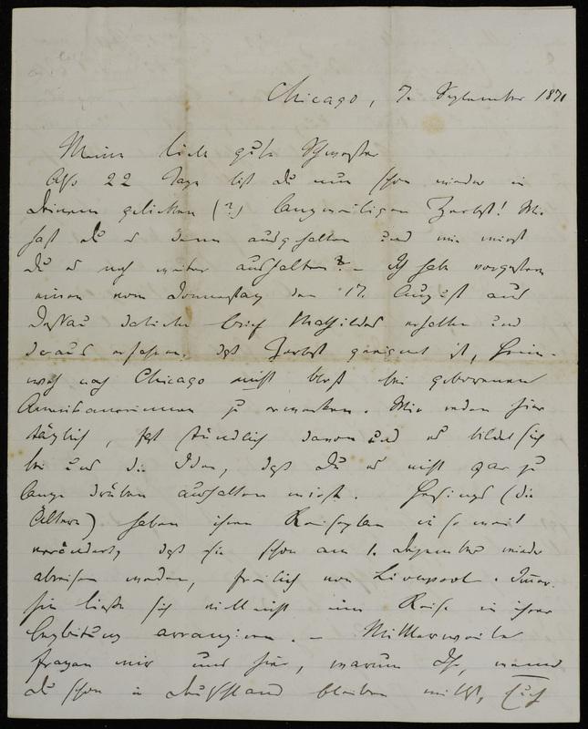 Hermann Raster to Sophie Raster, September 7, 1871