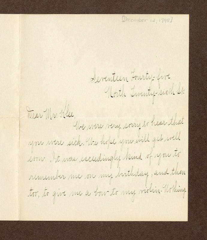 Ida Elise Kimmel to Eugen Klee, December 12, 1898