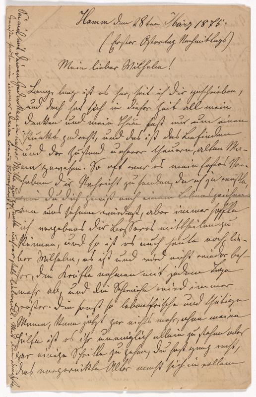Emilie Hassel to Friedrich Wilhelm Hess, March 28, 1875