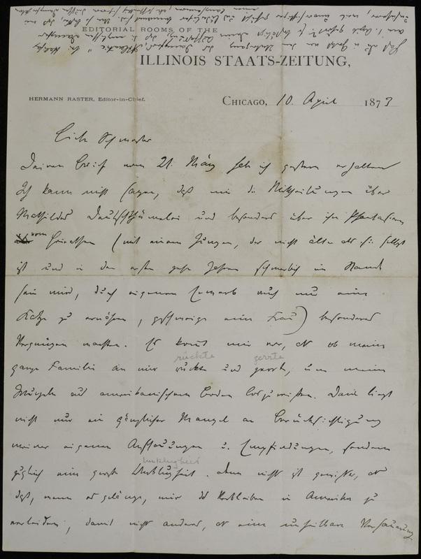 Hermann Raster to Sophie Raster, April 10, 1873