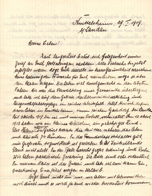 Eugen Haas to Eugen Klee, January 29, 1919, page 1