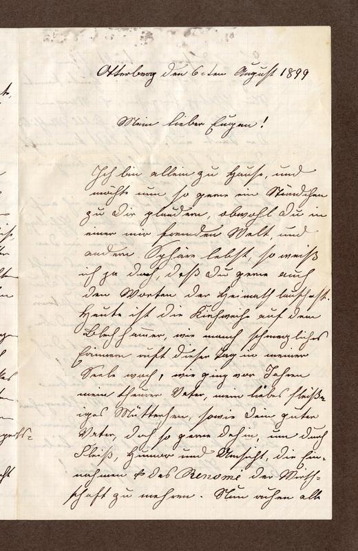 Klee family letter, August 6, 1899