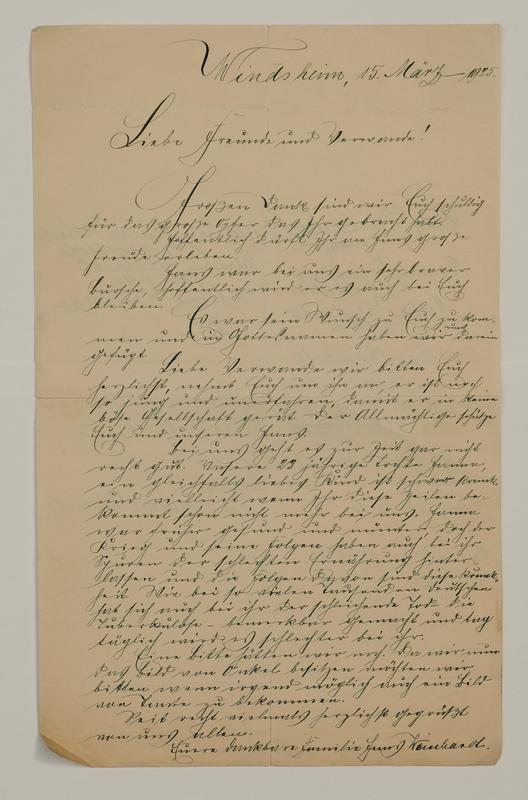 Johann P. Weinhardt to William W. Weinhardt, March 15, 1925