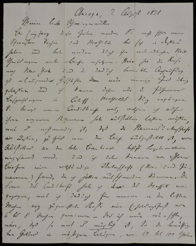 Hermann Raster to Anna Oppenheim, August 7, 1871