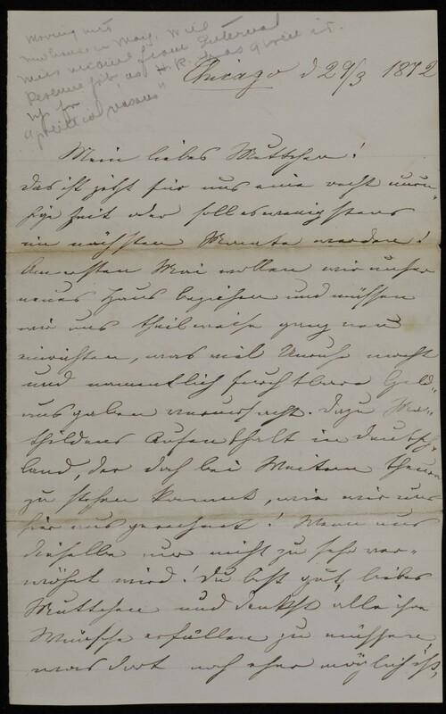 Margarethe Raster to Anna Oppenheim, March 29, 1872
