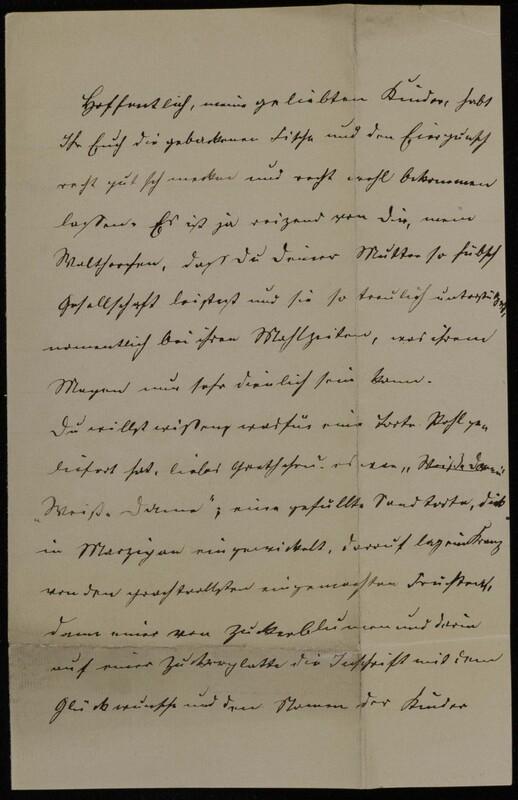Anna Oppenheim to Margarethe Raster and Hermann Raster, February 15, 1884