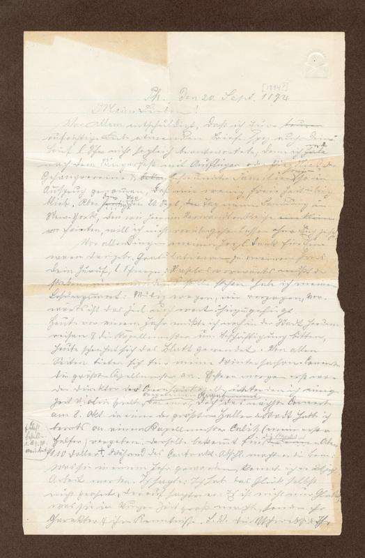 Klee family letter, September 20, 1894