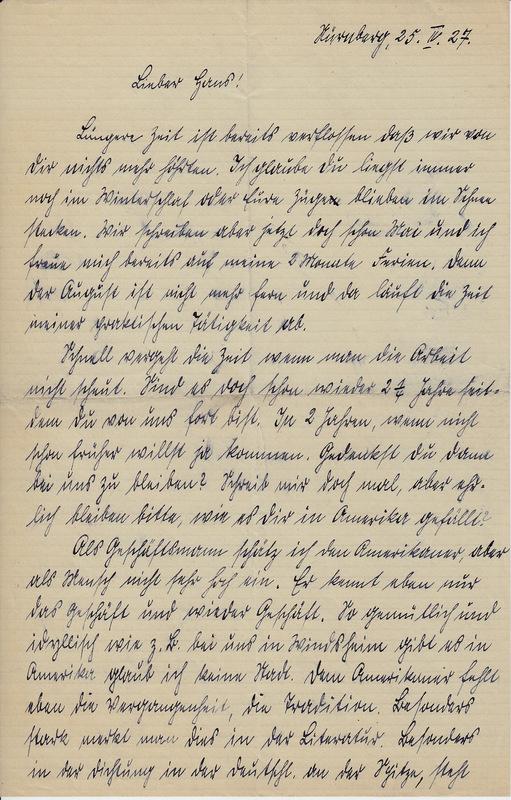 Weinhardt family letter, April 25, 1927