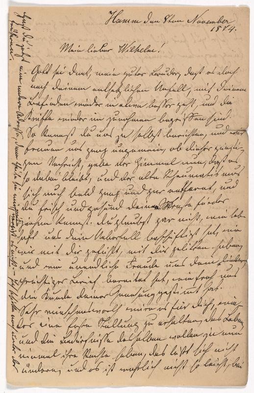 Emilie Hassel to Friedrich Wilhelm Hess, November 8, 1874