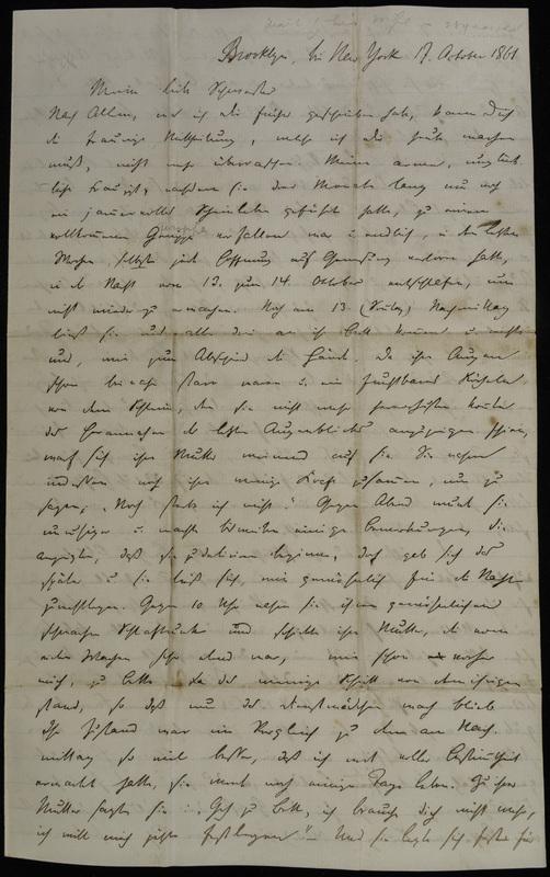 Hermann Raster to Sophie Raster, October 17, 1861