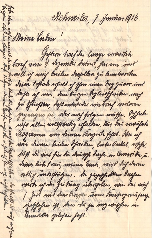 Eugen Haas to Eugen Klee, January 7, 1916, page 1