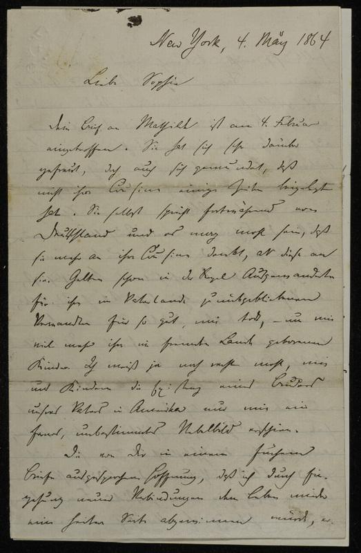Hermann Raster to Sophie Raster, May 4, 1864
