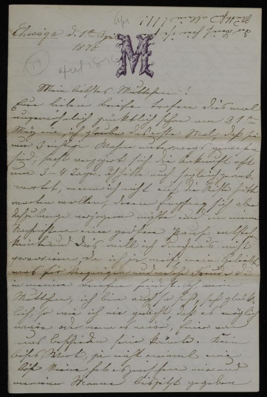Margarethe Raster and Hermann Raster to Anna Oppenheim, April 1, 1870