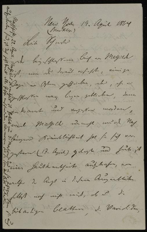 Hermann Raster to Sophie Raster, April 19, 1864