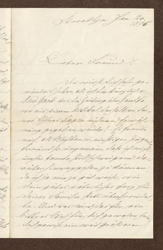 Klee family letter, January 20, 1896