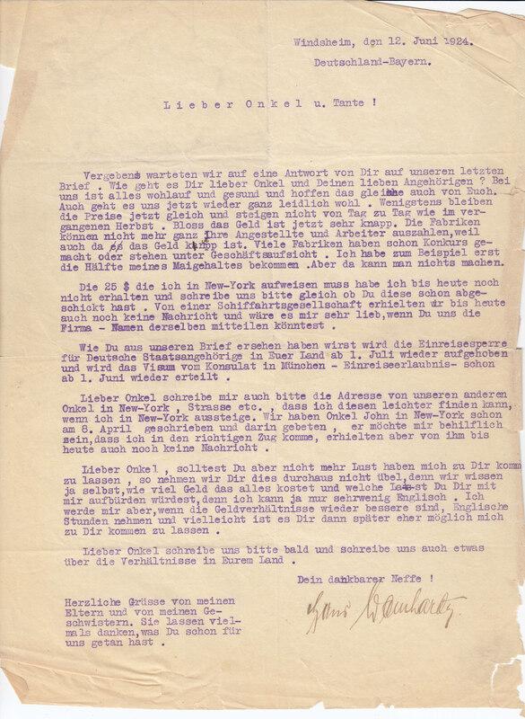 John V. Weinhardt to William W. Weinhardt, June 12, 1924
