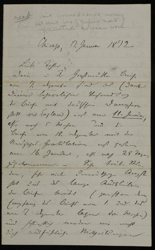 Hermann Raster to Sophie Raster, January 17, 1872