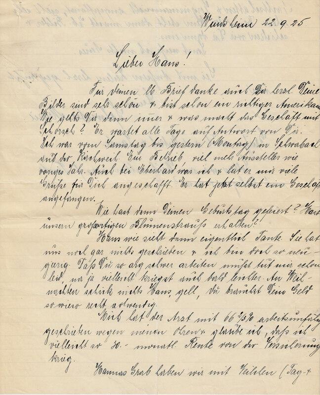 Marie Weinhardt to John V. Weinhardt, September 22, 1925