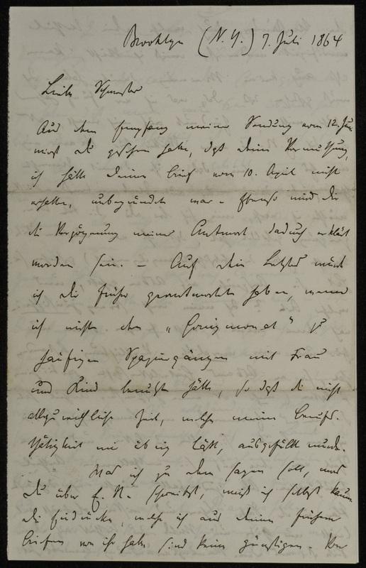 Hermann Raster to Sophie Raster, July 7, 1864