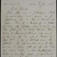 Hermann Raster to Sophie Raster, July 7, 1874, p. 1
