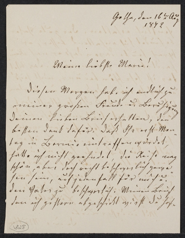 Lina Hansen to Marie Taylor, August 16, 1872