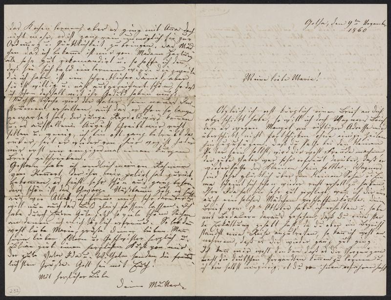 Lina Hansen to Marie Hansen Taylor, November 9, 1860
