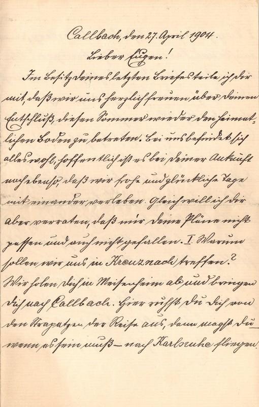 Heinrich Haas to Eugen Klee, April 27, 1904