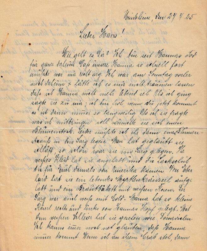 Marie Weinhardt to John V. Weinhardt, July 27, 1925