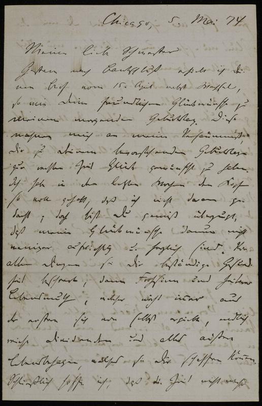 Hermann Raster to Sophie Raster, May 5, 1874