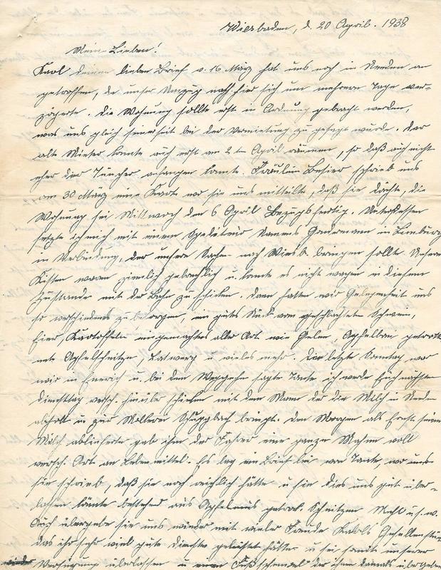 Wilhelm Emmel to Karl Emmel, April 20, 1938