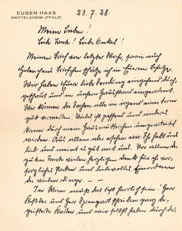 Eugen and Lisbeth Haas to Eugen Klee, July 23, 1928