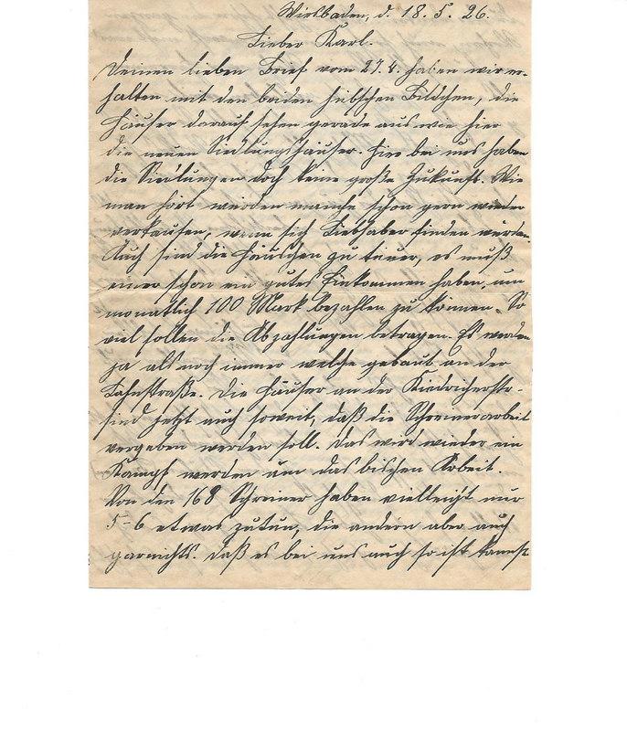 Caroline Emmel to Karl Emmel, May 18, 1926