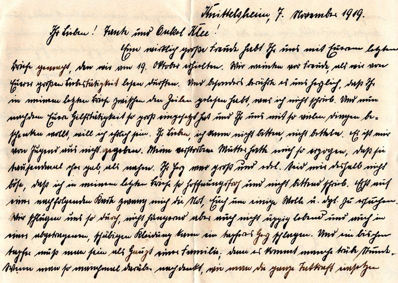 Eugen Haas to Eugen Klee, November 7, 1919, page 1