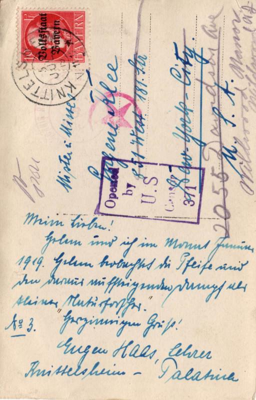 Eugen Haas to Eugen and Emma Klee, July 5, 1919, postcard #3 (back)