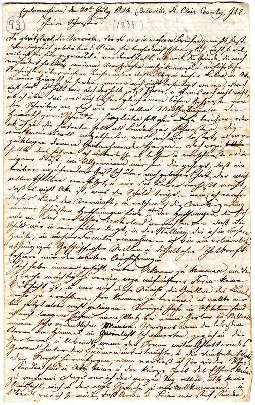 Theodor Engelmann to Margarethe Hilgard, July 30, 1834, p. 1