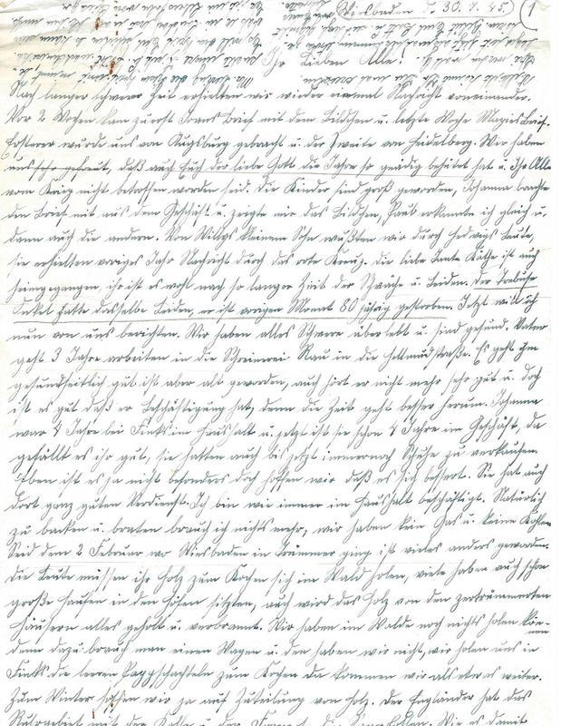 Caroline Emmel to Karl Emmel, July 30, 1945