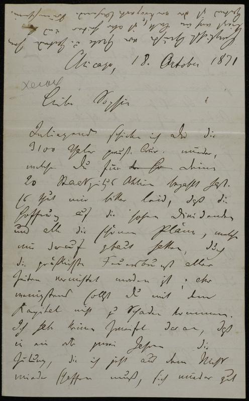 Hermann Raster to Sophie Raster, October 18, 1871