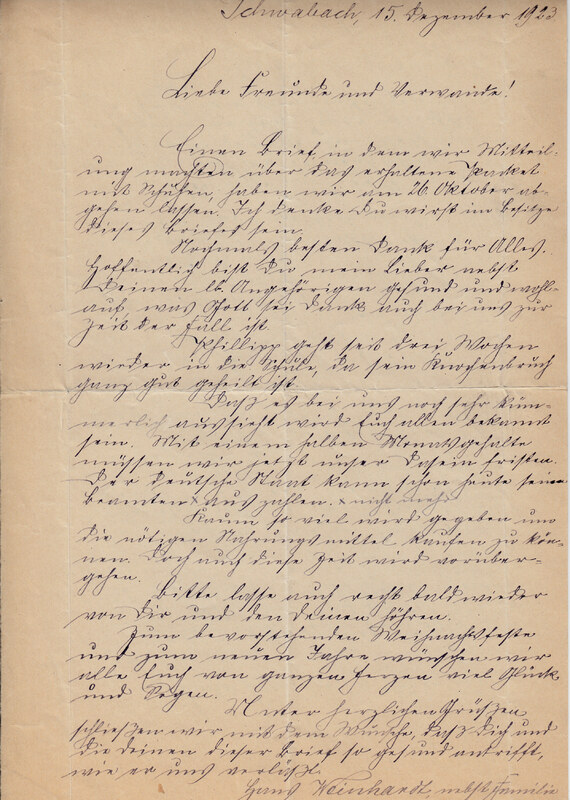 Johann P. Weinhardt to William W. Weinhardt, December 15, 1923