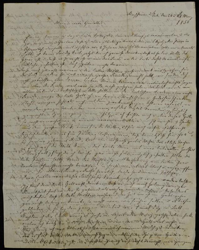 Letter to Charlotte Fischer von Höfeln, March 25, 1858