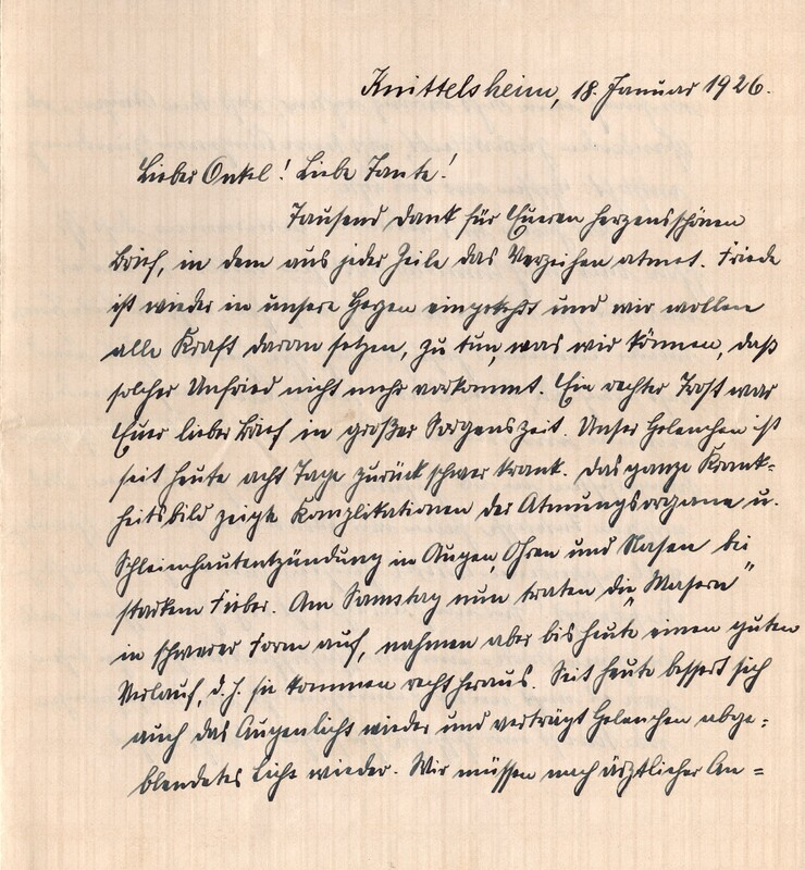 Eugen and Lisbeth Haas to Eugen Klee, January 18, 1926