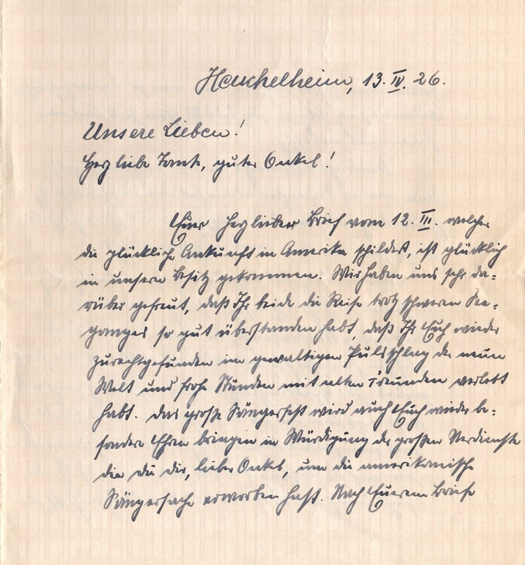 Eugen and Lisbeth Haas to Eugen Klee, April 13, 1926