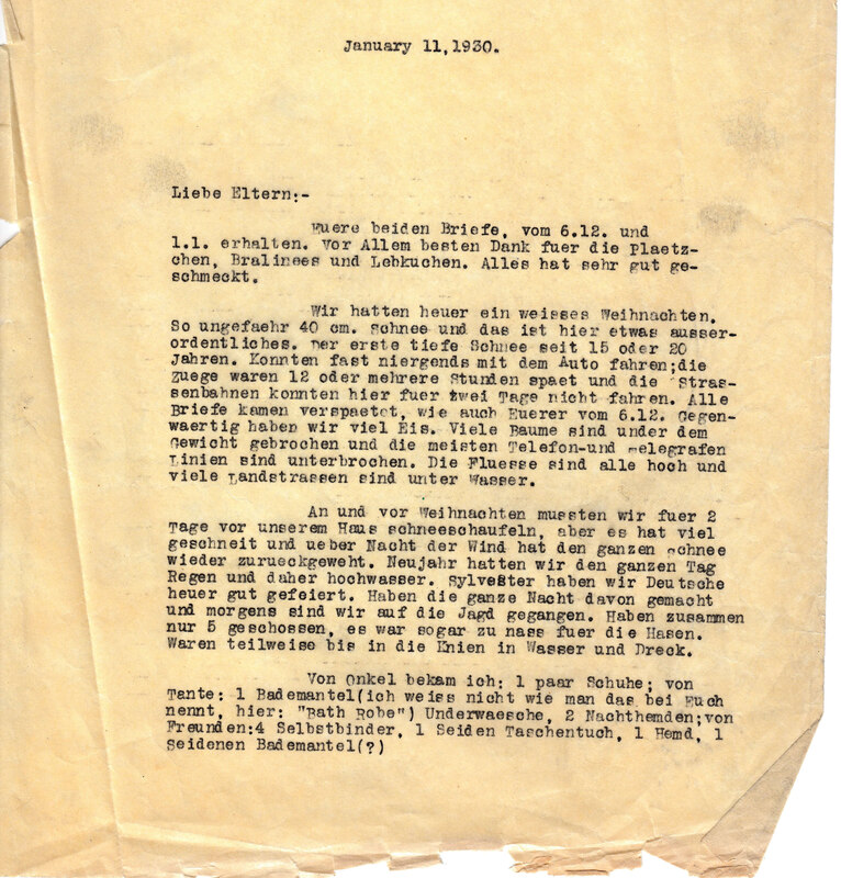 Weinhardt family letter, January 11, 1930